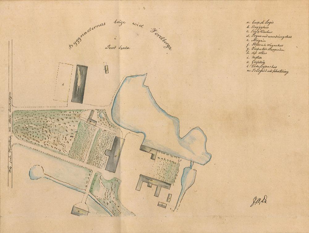 Parkplan över jordberga, fråm 1839